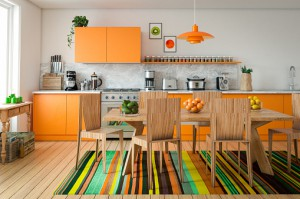 Digitally generated contemporary domestic kitchen interior design.